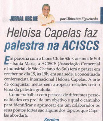Jornal ABC News – Convite à palestra de Heloísa Capelas