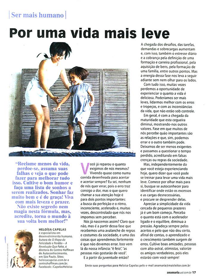 """""""Por uma vida mais leve"""" é o artigo de Heloísa Capelas para a revista Ana Maria"""