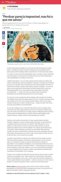 """Revista Veja SP publicou artigo de Heloísa Capelas: """"perdoar parecia impossível"""""""